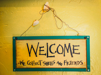 Welcome We Collect Shells and Friends Sign